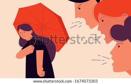 Victim blaming concept vector illustration with a girl trying to hide from her offenders under an umbrella. Stockfoto ©