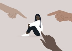 Victim blaming, cyberbullying, and other forms of public judgement, a young female Black character surrounded by pointing fingers