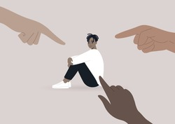 Victim blaming, cyberbullying, and other forms of public judgement, a young male Black character surrounded by pointing fingers