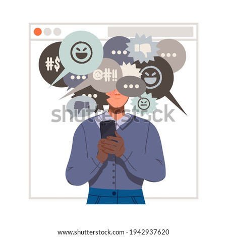 Victim of Cyberbullying Suffering from Violence and Hatred from Social Media Vector Illustration Stock photo ©
