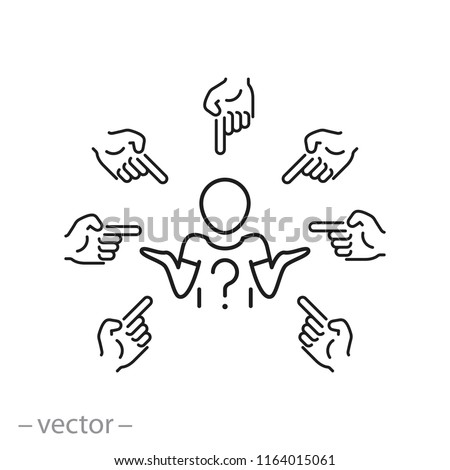 victim with shame icon, victim of a bullying linear sign isolated on white background - editable vector illustration eps10