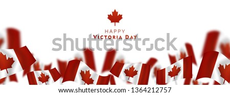 Victoria Day in Canada Vector Illustration, realistic rippling canadian flag ストックフォト ©