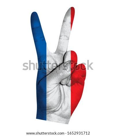Victoria finger gesture with France flag vector illustration