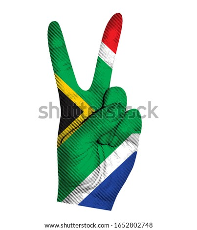 Victoria finger gesture with South Africa flag vector illustration