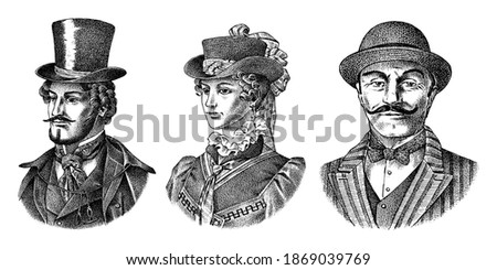 Victorian and woman gentleman with hat and mustache. Belgian Man and lady in vintage retro style. Vector illustration. Antique old monochrome character. Hand drawn engraved retro sketch. Foto stock ©