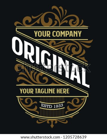 Victorian Badge Stylish Luxury Hipster Label Design Vintage Traditional Ornament Suitable For Fashion, Beverage And Apparel