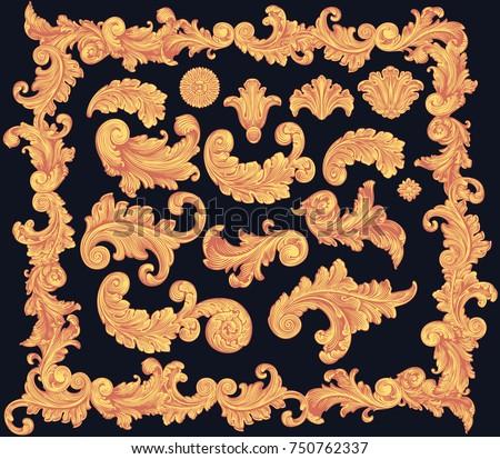 Victorian Baroque floral ornament decorative pattern calligraphic swirl heraldic filigree elements. Design set. Hand drawn engraving. Vector vintage illustration. Isolated on black background. 8 EPS