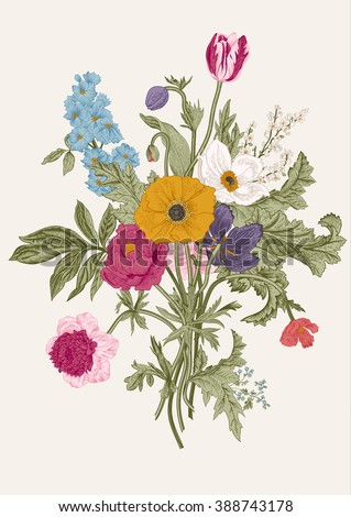 Victorian bouquet. Spring Flowers. Poppy, anemones, tulips, delphinium. Vintage botanical illustration. Vector design element.