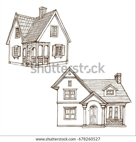 victorian cute little houses set outline ink drawn coloring book page stock vector illustration