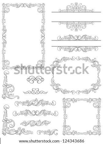 Victorian design elements. Vector  Set of Victorian  Calligraphic  frames, Element and corner details.