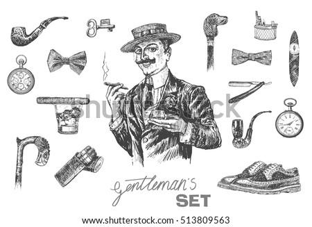 victorian era set  gentleman's...