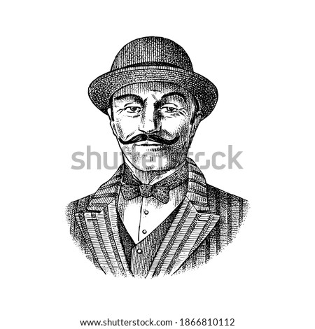 Victorian gentleman. Belgian man with mustache. Elegant man in vintage retro style. Vector illustration. Hand drawn engraved retro sketch. Antique old monochrome character Foto stock ©