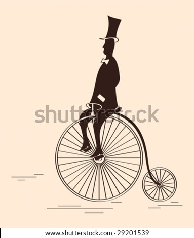 Victorian gentleman riding retro big wheel bycicle