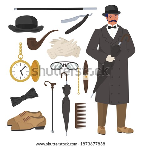 Victorian gentleman set, flat vector isolated illustration. English gentleman clothing and accessories. Bowler hat, cane, razor, watch, pipe, cigar, gloves, umbrella and shoes. Stockfoto ©