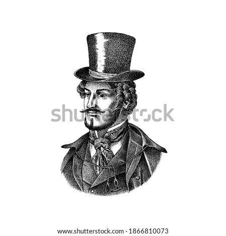 Victorian gentleman with hat and mustache. Man in vintage retro style. Vector illustration. Antique old monochrome character. Hand drawn engraved retro sketch. Foto stock ©