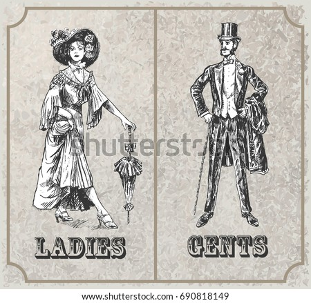 Victorian lady and gentleman. Toilet Sign, vector format. Vintage Victorian Era Engraving style retro vector lineart Hand drawn sketch illustration, Linear graphic art
