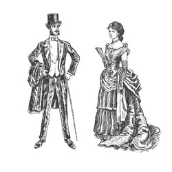 Victorian lady and gentleman. Vintage Victorian Era Engraving style retro vector lineart Hand drawn sketch illustration