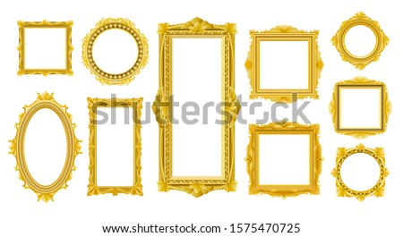 Victorian old wood frames. Decorative vintage style rococo gold frame set isolated on white background, vector decoration retro images or photos luxury interior antique borders