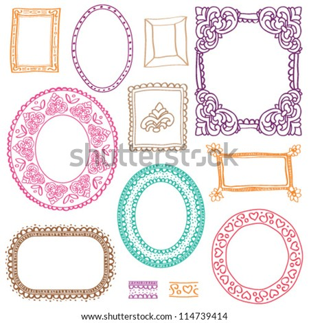 Victorian style photo frames in vector - stock vector
