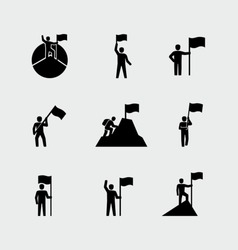 Victorious person standing on a mountain top holding a flag vector icons