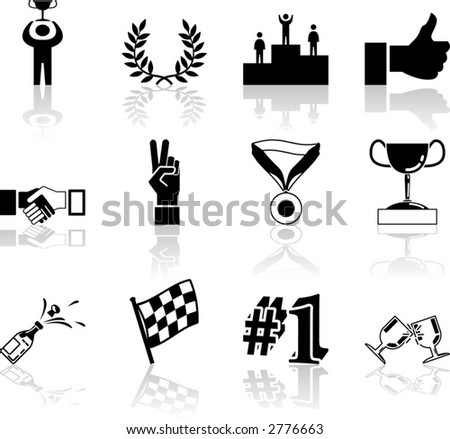 victory and success icon set