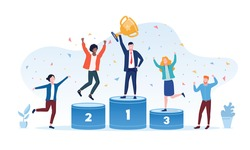 Victory concept with the businessman winner holding gold cup on the center podium flanked by the runners up and cheering people, colored vector illustration