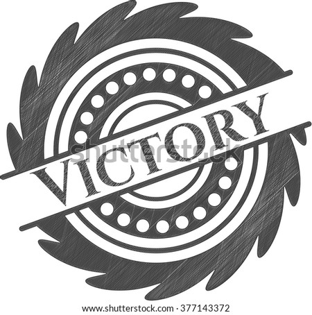 Victory emblem with pencil effect