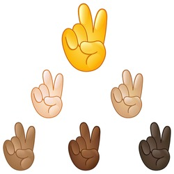 Victory emoji hand set of various skin tones