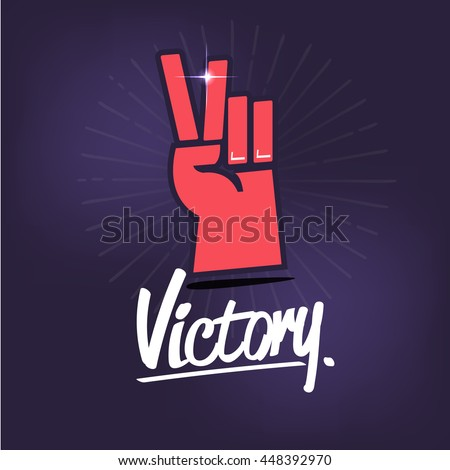 Victory hand sign with typographic icon. hand showing two finger icon - vector illustration