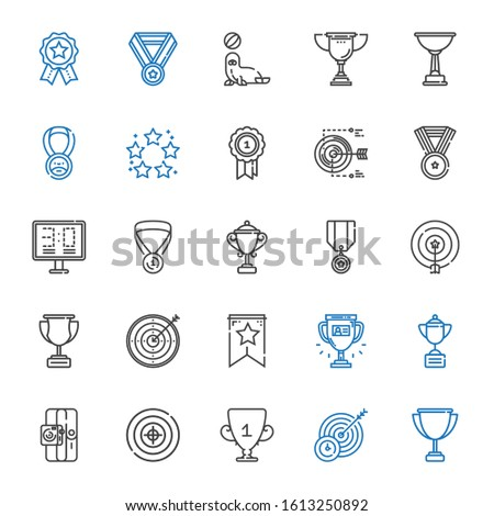 victory icons set. Collection of victory with trophy, target, sport, banner, medal, scoreboard, best, seal, badges. Editable and scalable victory icons.