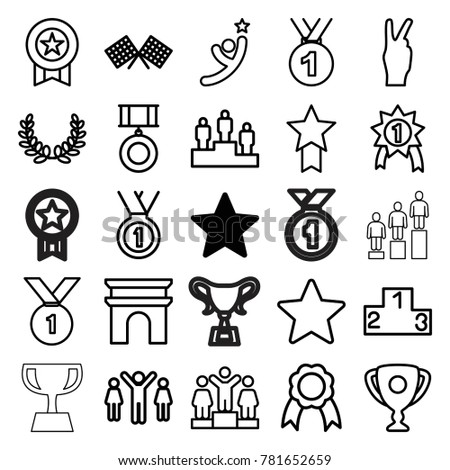 Victory icons. set of 25 editable outline victory icons such as star, arc de triomphe, ranking, medal, ribbon, finish flag, olive wreath, trophy