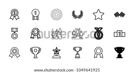 Victory icons. set of 18 editable outline victory icons: trophy, medal, ribbon, finish flag, star, olive wreath, ranking, star trophy, number 1 medal