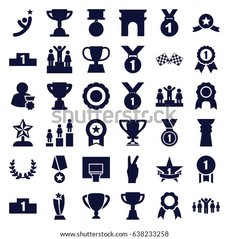 Victory icons set. set of 36 victory filled icons such as arc de triomphe, ranking, trophy, ribbon, medal, finish flag, basketball basket, 1st place star, award, olive wreath