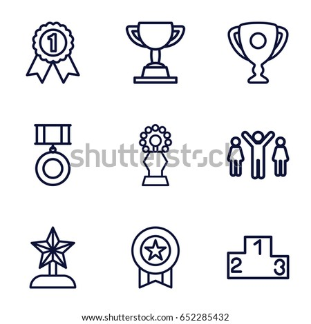 Victory icons set. set of 9 victory outline icons such as medal, ranking, trophy, star trophy, group of people and man celebrating victory