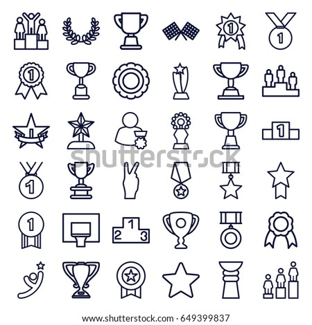 Victory icons set. set of 36 victory outline icons such as ranking, trophy, ribbon, star, medal, finish flag, basketball basket, 1st place star, olive wreath, man with medal