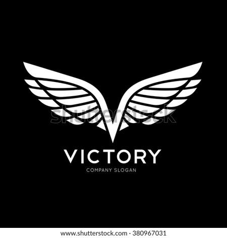 victory logo wing logo v letter