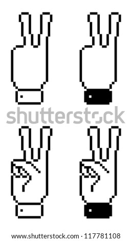 Victory of vote symbol in pixel