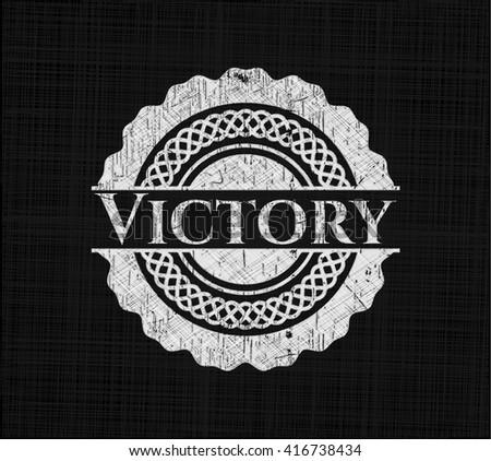Victory on chalkboard