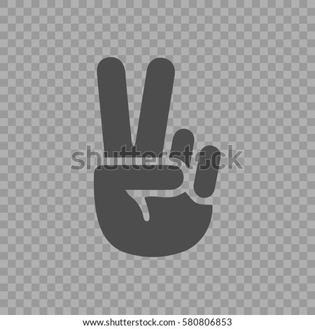 Victory symbol vector icon eps 10. V gesture sign on transparent background.