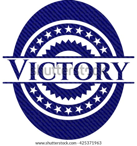 Victory with denim texture