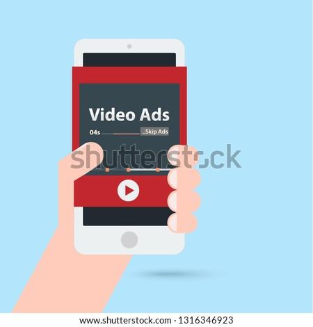 video ads advertising content social media marketing in smartphone. illustration vector concept.