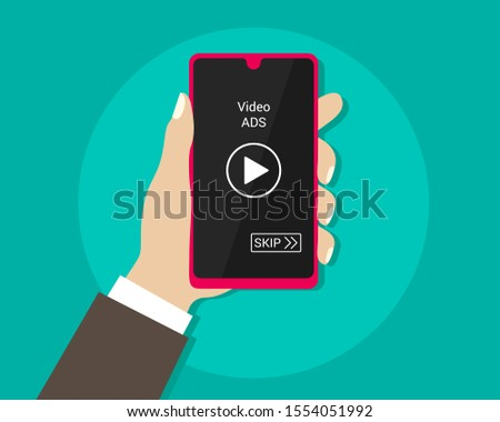 video advertise play with smartphone. hand holding smartphone. vector illustration