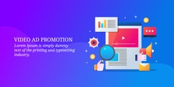 Video advertising - Social media marketing - Digital Business promotion - vector banner illustration with icons and texts