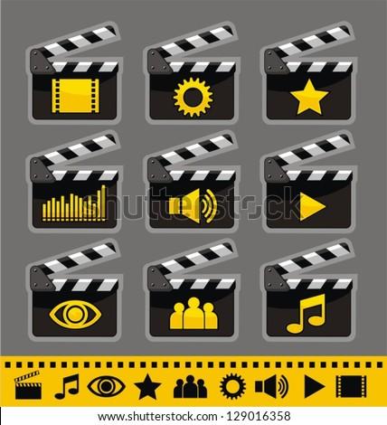 Video and audio icon set