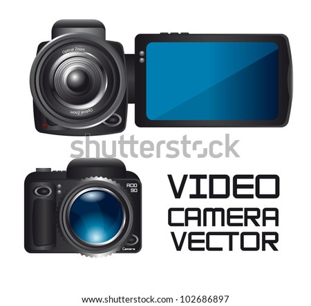 video and camera isolated over white background. vector