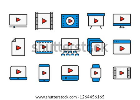 Video and movie color line icons. Multimedia and TV vector linear colorful icon set. Isolated icon collection on white background.