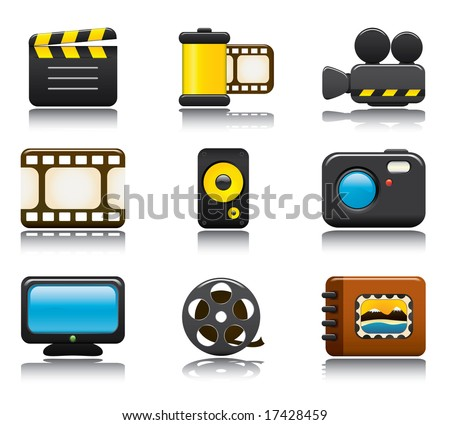 Video and Photo Icon Set One. Easy To Edit Vector Image.