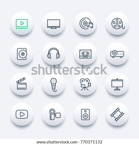 video, audio icons set, linear style