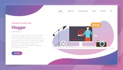 video blogger concept for website template or landing homepage design campaign