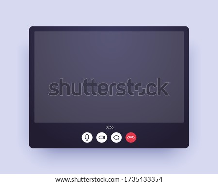 Video call abstract zoom screen. Web chat application ui with voice and video icon and blank place for your picture. Conference window mockup for home office and online learning on quarantine.